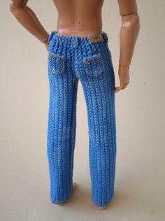 Crochet Pattern for Kate's Jeans Pants Shorts Skirt - Salvabrani Diy Ken Doll Clothes, Knitting Dolls Clothes, Crochet Barbie Clothes, Knitted Dolls, Crochet Dolls, Barbie Kleidungsmuster, Barbie Et Ken, Barbie Dress, Crochet Barbie Patterns