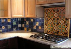 Want do to something like this for kitchen counter walls/behind sink when we remodel. <3 Talavera tile.