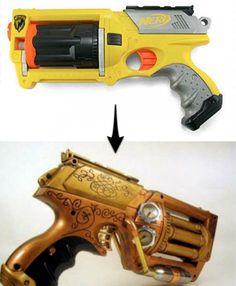 How To: Convert a Nerf Gun to Steampunk       (full tutorial: http://www.gizmowatch.com/entry/kick-ass-steampunk-nerf-guns/)