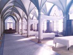Infirmary - Cathedral of Pelor Fantasy City, Fantasy Places, Fantasy World, Episode Interactive Backgrounds, Episode Backgrounds, Fantasy Art Landscapes, Fantasy Landscape, Casa Anime, Desenhos Love
