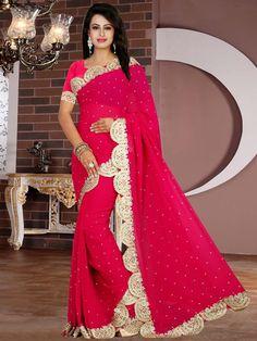 Свадебное индийское сари из креп-жоржета цвета фуксии, украшенное вышивкой люрексом и стразами