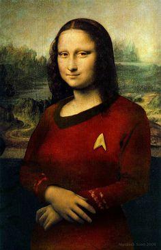 Mona Lisa in the famous red shirt of Star Trek - Star Trek Fan Art - Fanpop Pop Art, Film Science Fiction, La Madone, Mona Lisa Parody, Tachisme, Culture Pop, Star Trek Universe, Star Trek Tos, Star Wars