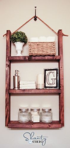 Printable Letters - But what I really like about this post is this shelf. It is so easy to make with 2 2x4s the same size and 3 2x4s the same size. nail them together and hang with a rope on a good hook into a stud.