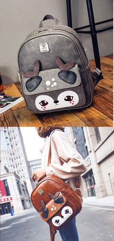 Which color do you like? Cute Shy Deer Splicing PU College Cartoon Women's Animal Backpack #cute #cartoon #backpack #bag #animal #fashion #deer
