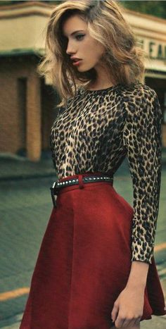 Leopard and Red - I like the colors but make it a button down blouse with a maxi.