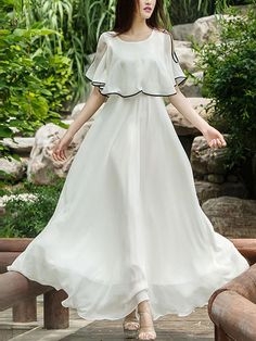 Round Neck Contrast Trim Plain Maxi Dress – Stylishplus Source by eringodbey Stylish Dresses, Cute Dresses, Beautiful Dresses, Casual Dresses, Fashion Dresses, Summer Dresses, Maxi Dresses, Woman Dresses, Fashion Fashion