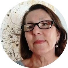 Elizabeth Bunsen with background of natural dye marks