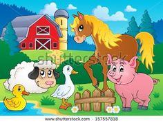 Farm animals theme image 5 - eps10 vector illustration. - stock vector
