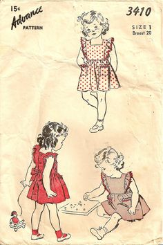 Vintage Advance 3410 Toddler Girl Sewing Pattern, Pinafore Dress, (made several times it is so cute, this was a pattern made for me when I was little Childrens Sewing Patterns, Kids Patterns, Sewing For Kids, Baby Sewing, Clothes Patterns, Vintage Baby Names, Pinafore Pattern, Patron Vintage, Vintage Dress Patterns