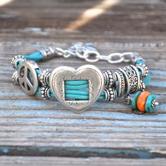 Cowgirl Heart and Peace Sign Bracelet with Natural Bisbeee Turquoise