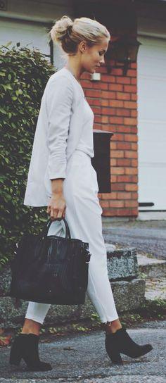 Sheinside White Street Crop Pants by Petra Karlsson