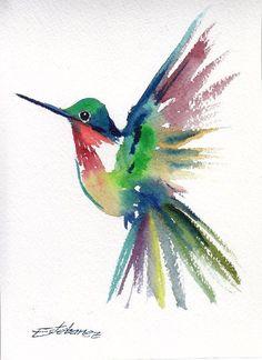 Original Watercolor Painting Hummingbird Flying 1, 5 x 7 in. #Fauvism Watercolor Hummingbird, Hummingbird Art, Watercolor Feather, Abstract Watercolor, Watercolour Painting, Painting & Drawing, Tatoo 3d, Contemporary Abstract Art, Bird Drawings