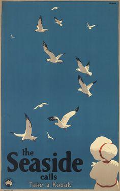 ¤ PERCIVAL ALBERT (PERCY) TROMPF (Australia 1902-1964) THE SEASIDE CALLS. Take a Kodak ! Circa 1935. 39 1/2x24 1/2 inches, 100 1/4x62 cm. F.W. Niven Pty. Ltd., [Melbourne.]