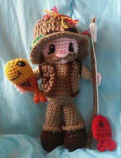 Crochet Fisherman John Amigurumi Doll Pattern by 3ThreadinBettys
