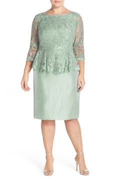Adrianna Papell Floral Embroidered Peplum Dress (Plus Size) on Nordstrom