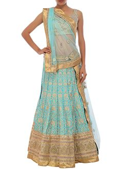 Sky-blue silk lehenga embellished in zari embroidery only on Kalki - Kalkifashion.com
