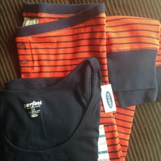 NWT OLD NAVY 2pc Pajama / Lounge Set Size Large NWT OLD NAVY Tank Top and Thermal Pants Pajama/Lounge Set. Navy Blue Perfect Fit Tank with Orange and Navy Blue Striped Thermal Cuffed Pants. Super Cute, Comfy and Stretchy Cotton/polyester Material, Size Large 🍂Fall Ready🍂 Old Navy Intimates & Sleepwear Pajamas