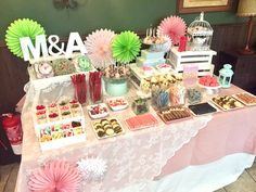 Candy Bar Candy Bar Party, Candy Table, Candy Buffet, Sweet Buffet, Sweet Bar, Dessert Buffet, Dessert Bars, Candy Bar Comunion, Wedding Buffet Food