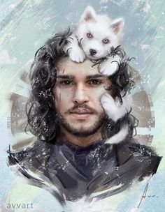 Adorable Portrait Illustration of Jon Snow with Baby Ghost by Aleksei Vinogradov Like us on Facebook