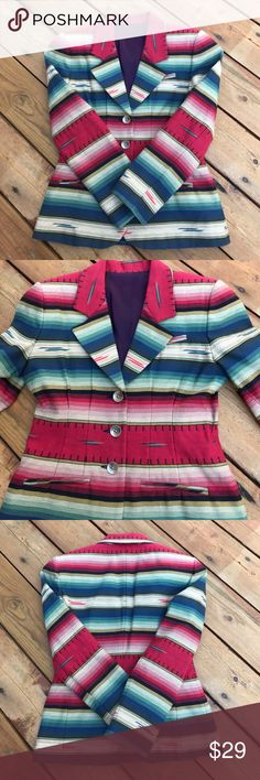 Fab Vintage Blazer Did I Say Fab? It's Fab! Beautiful Vintage Blazer. EUC! Size:4. Santa Fe Multicolored Pattern. Collard. 3 front button closure. 1 faux chest pocket & 2 Faux bottom pockets. Stitching can be easily snipped to make pockets functional. Built in Shoulder pads. Fully lined in dark purple. Love this paired with jeans! 54% cotton 46% polyester. Dry clean only. NO TRADES. Jackets & Coats Blazers