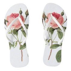 Chanclas blancas de una rosa en cada pie flip flops -  womens  shoes 4d77df1aece