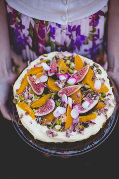 Persian Fig + Orange Cake with Orange Blossom Syrup and Cream Cheese icing