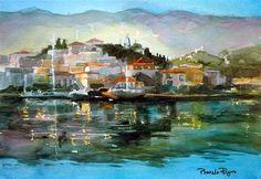 "Daily Paintworks - ""Serene Poros"" - Original Fine Art for Sale - © Pamela Jane Rogers"