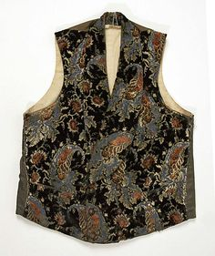 Vest    Date:      ca. 1850  Culture:      American  Medium:      silk  Dimensions:      [no dimensions available]  Credit Line:      Gift of Miss Henrietta Harmon, 1940  Accession Number:      C.I.40.6.2
