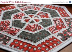 Black Friday Sale Chevron Table Centerpiece by RedButtonQuilting, $36.00