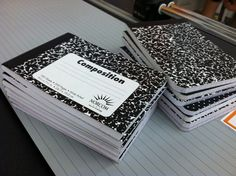 Office Max will cut composition books in half.. Great idea since younger students do not use the whole page in a journal!