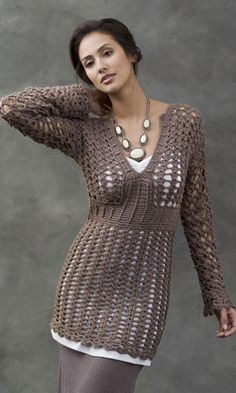 Talca Lace Tunic    A free crochet pattern by Kim Rutledge at the Naturally Caron site.