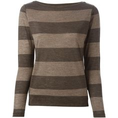Eleventy Long Sleeve Striped T-Shirt ($188) ❤ liked on Polyvore featuring tops, t-shirts, brown, striped long sleeve tee, longsleeve t shirts, striped t shirt, stripe t shirt and long sleeve striped top