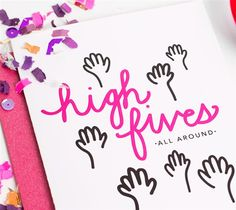 High Fives Card – Idieh Design  Here's a celebratory way to say congrats to a friend, family member, or bestie. Blank on the inside to write your special note.  For a license to leave the daily grind behind & for a way to spunk up your everyday, check out my website.  DIY, created with a Cricut Explore, creative cards, crafting, crafts