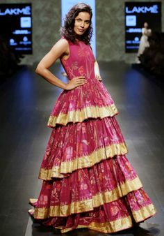 Gaurang Collection At Lakme Fashion Week 2016 More from Fashion MaziaAmrich… Indian Fashion Dresses, Indian Gowns, Indian Outfits, Long Gown Dress, Sari Dress, Frock For Teens, Dress Paterns, Simple Gowns, Designs For Dresses