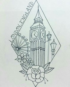 15 Super Ideas For Travel Drawing London Big Ben Big Ben Tattoo, Kunst Tattoos, Tattoo Drawings, Art Drawings, Tattoo Art, Big Ben London, London Tattoo, England Tattoo, British Tattoo