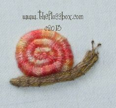 Crewel Embroidery Tutorial NATIONAL ESCARGOT DAY (May Learn how to do Stumpwork embroidery. Click the tutorial link to go to The Floss Box. Click their tutorials and the Stumpwork snail is the from the bottom. Brazilian Embroidery Stitches, Crewel Embroidery Kits, Learn Embroidery, Silk Ribbon Embroidery, Hand Embroidery Patterns, Embroidery Thread, Cross Stitch Embroidery, Embroidery Designs, Embroidery Tattoo