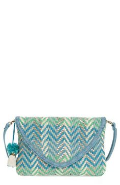 Free shipping and returns on Steven by Steve Madden Woven Crossbody Bag at Nordstrom.com. Faux leather and cotton threads in blue, green and silver hues weave some magic on a striking bag featuring an optional crossbody strap so you can carry this as a chic clutch, too.