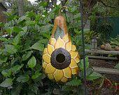 Birdhouse Painted Gourd Sunflower