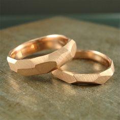 14k or anneau ciselé rose 3mm de large par daniellejewelry