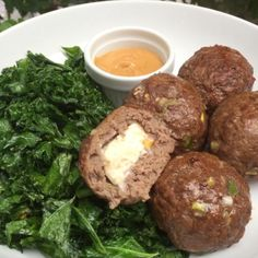 WEBSTA @ thebodycoach - Oh wow 🙈 Just stuffed my balls with feta cheese and this is what happened 👌🏼😍 Give it a go. Low carb high fat stuffed meatballs with peanut butter dip and kale cooked in oil 🙌🏼 Clean Eating Recipes, Cooking Recipes, Healthy Eating, Joe Wicks Recipes, Healthy Dishes, Healthy Recipes, Body Coach, Lean Meals, Clean Eating Dinner
