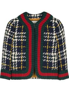 GUCCI Dark Blue/White Prince Of Wales Wool Short Jacket. #gucci #cloth #coats-jackets