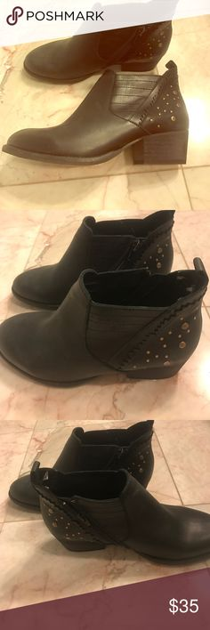 Black studded booties Only worn one time and they look completely brand new! They run just a little small! Shoes Ankle Boots & Booties
