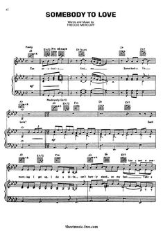 Somebody to Love Sheet Music Queen Piano Sheet Music Classical, Sheet Music Pdf, Easy Piano Sheet Music, Music Sheets, Saxophone Sheet Music, Drum Music, Music Guitar, Piano Music, Trumpet Sheet Music