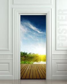 Wall Door STICKER natural resources landscape river fishing mural decole film self-adhesive poster / Wallpaper Door, Door Murals, Door Stickers, Lake Water, Vinyl Banners, Door Wall, Natural Resources, Interior Walls, Illusions