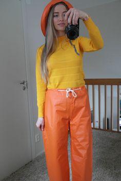 Orange rain pants