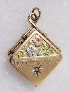 9k Tri-Color Gold & Diamond Antique Victorian Locket Pendant
