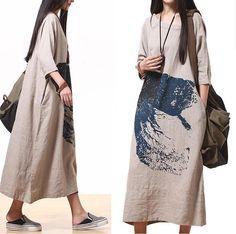 Comfort Linen Maxi Dress / Unique Summer Ma qualities  by dreamyil, $128.00