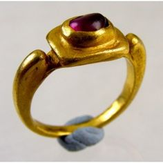 Small gold ring with cabochon ruby. East Roman Empire