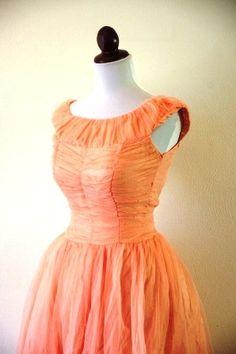 Vintage 1950s Peach Chiffon Prom Dress. $75.00, via Etsy.