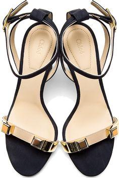 Chloé Navy Suede Heeled Sandals